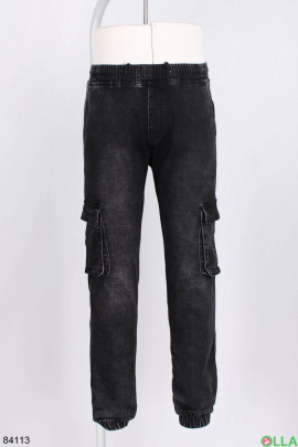 Мужские черные брюки с накладными карманами