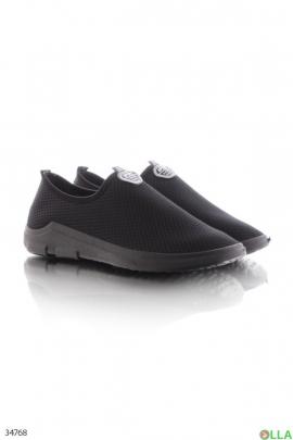 Чёрные кроссовки без шнуровки