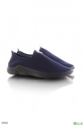 Синие кроссовки без шнуровки