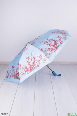 Женский голубой зонт с рисунком