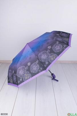 Женский темно-фиолетовый зонт с рисунком