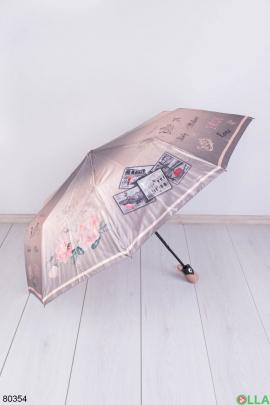 Женский бежевый зонт с рисунком