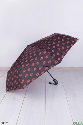 Женский черно-красный зонт с рисунком