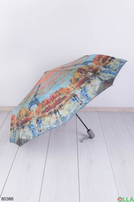 Женский разноцветный зонт с рисунком