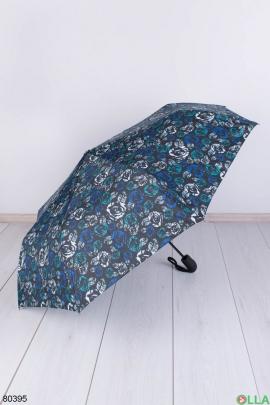 Женский черный зонт с рисунком
