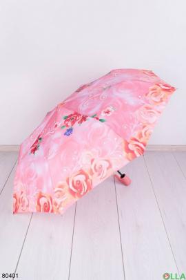 Женский розовый зонт с рисунком