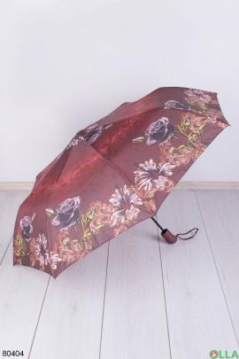 Женский бордовый зонт с рисунком
