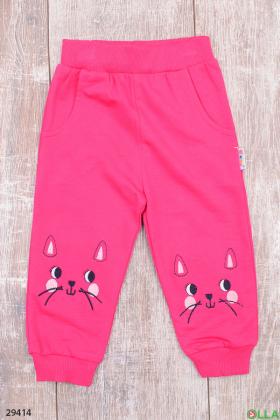 Розовые спортивные штаны с кошечками