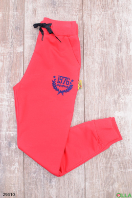 Коралловые спортивные штаны с надписью