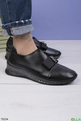 Женские черные туфли с бантиком