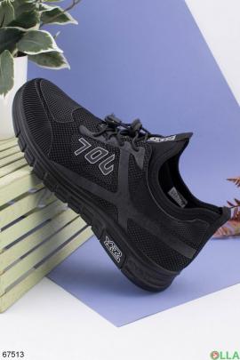 Мужские черные кроссовки с серыми вставками