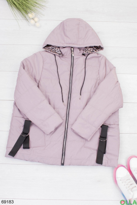 Женская бежевая куртка с капюшоном