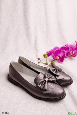 Туфли цвета металлик, с бантиком