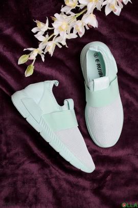 Бирюзовые кроссовки без шнуровки