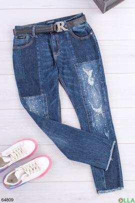 Женские синие джинсы с латками