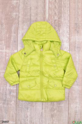 Куртка салатового цвета с карманами