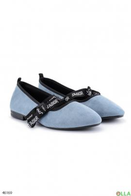 Женские голубые балетки