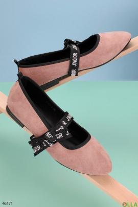 Женские розовые балетки