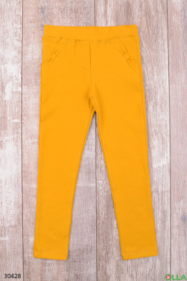 Желтые штаны с поясом на резинке