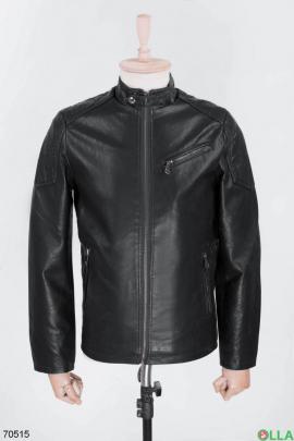 Мужская черная куртка из экокожи