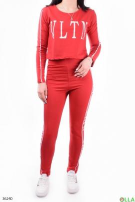 Женский красный спортивный костюм с надписями