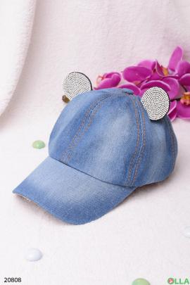 Джинсовая кепка с ушками
