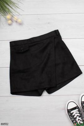 Женская черная юбка-шорты