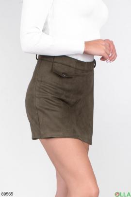 Женская юбка-шорты цвета хаки
