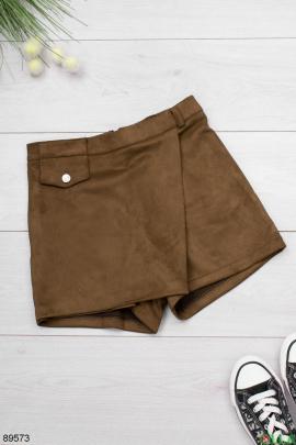 Женская коричневая юбка-шорты