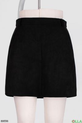 Женская черная юбка из экозамши