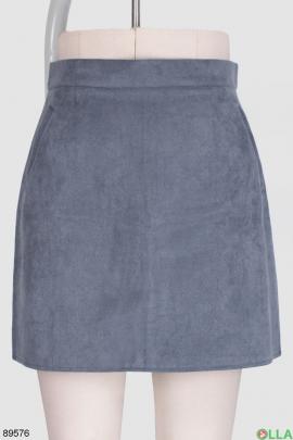 Женская голубая юбка из экозамши
