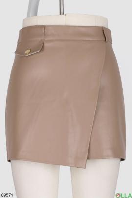 Женская бежевая юбка-шорты