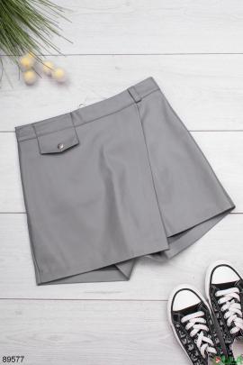 Женская серая юбка-шорты