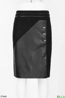 Женская юбка из замши и кожи