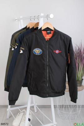 Мужская черная куртка без капюшона