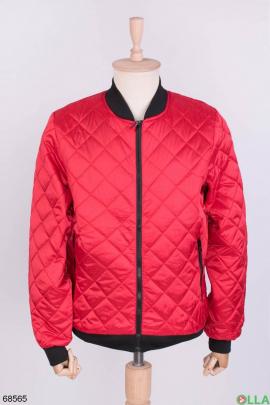 Мужская красная куртка без капюшона