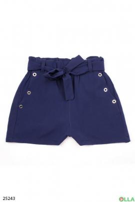 Синие шорты на резинке