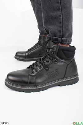 Мужские черные зимние ботинки