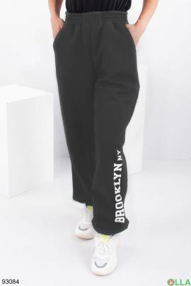 Женские темно-серые спортивные брюки на флисе