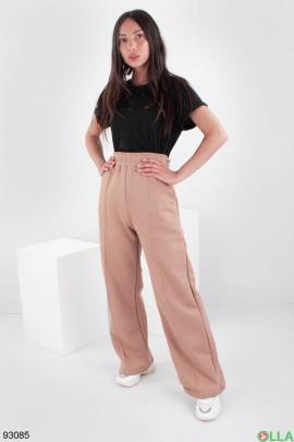 Женские коричневые спортивные брюки на флисе