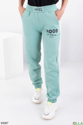 Женские бирюзовые спортивные брюки на флисе