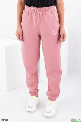 Женские розовые спортивные брюки на флисе