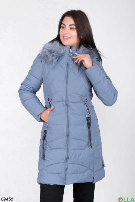 Женская зимняя синяя куртка с капюшоном