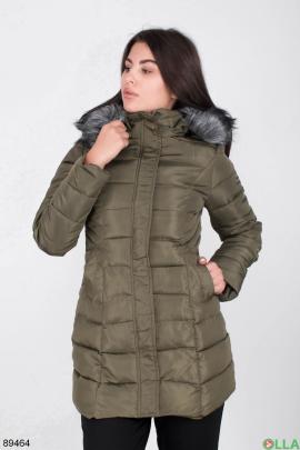 Женская зимняя куртка цвета хаки с капюшоном