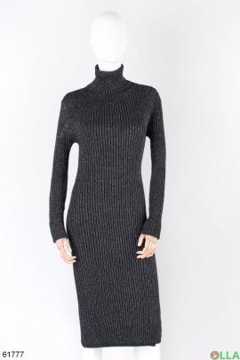 Женское темно-серое платье-гольф