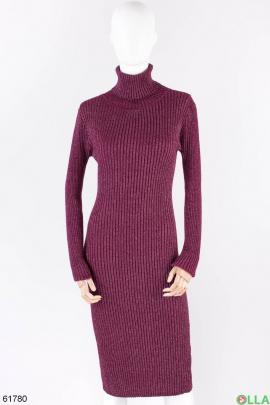 Женское бордовое платье-гольф