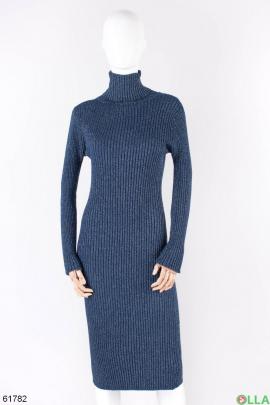 Женское темно-синее платье-гольф