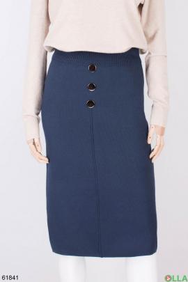 Женская трикотажная синяя юбка