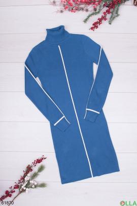 Женское синее платье-гольф