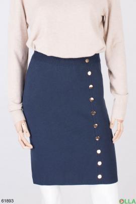 Женская темно-синяя трикотажная юбка